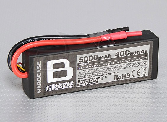 B-Grade 5000mAh 2S 40C Hardcase Lipoly Battery