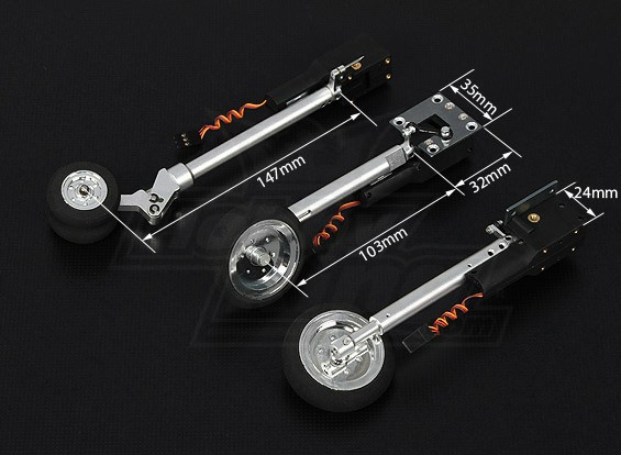 Turnigy DSR 0.60 class Tricycle Retract System 90 degree Rotating Main Gear (Mig 29 style)