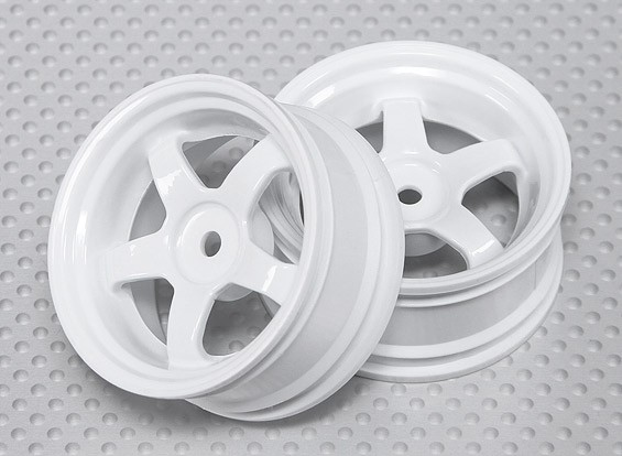 1:10 Scale Wheel Set (2pcs) White 5-Spoke RC Car 26mm (3mm offset)
