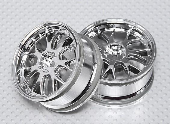 1:10 Scale Wheel Set (2pcs) Chrome 'Y' 7-Spoke RC Car 26mm (No Offset)