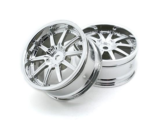 1:10 Scale Wheel Set (2pcs) Chrome 10-Spoke RC Car 26mm (No Offset)