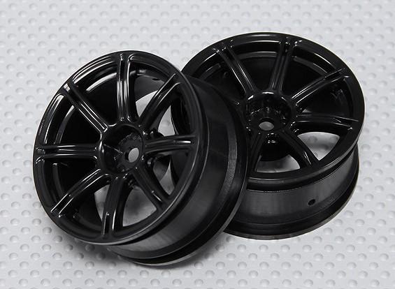1:10 Scale Wheel Set (2pcs) Black 7-Spoke RC Car 26mm (No Offset)