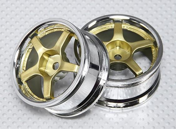 1:10 Scale Wheel Set (2pcs) Gold/Chrome 5-Spoke RC Car 26mm (no offset)