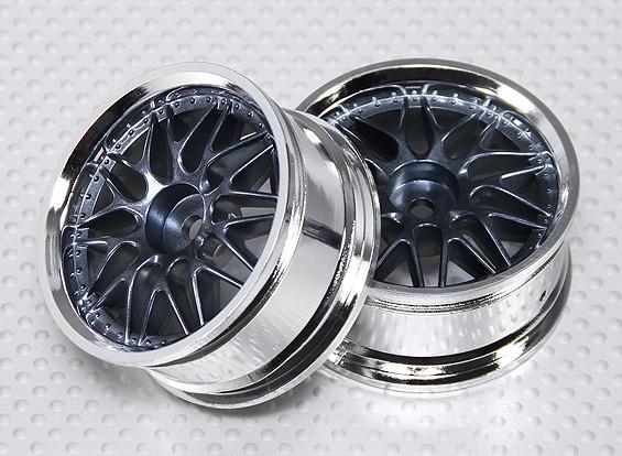 1:10 Scale Wheel Set (2pcs) Chrome/Gun Metal 'Y' 7-Spoke RC Car 26mm (No Offset)