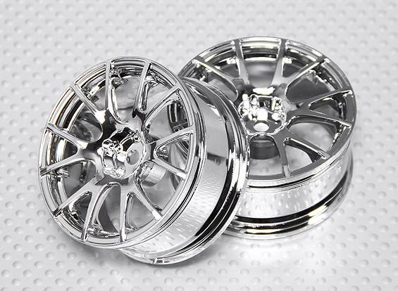 1:10 Scale Wheel Set (2pcs) Chrome Split 6-Spoke RC Car 26mm (3mm offset)