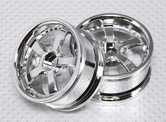 1:10 Scale Wheel Set (2pcs) Chrome 5-Spoke RC Car 26mm (no offset)