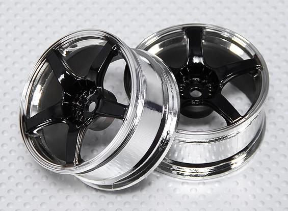 1:10 Scale Wheel Set (2pcs) Black/Chrome 5-Spoke RC Car 26mm (3mm offset)
