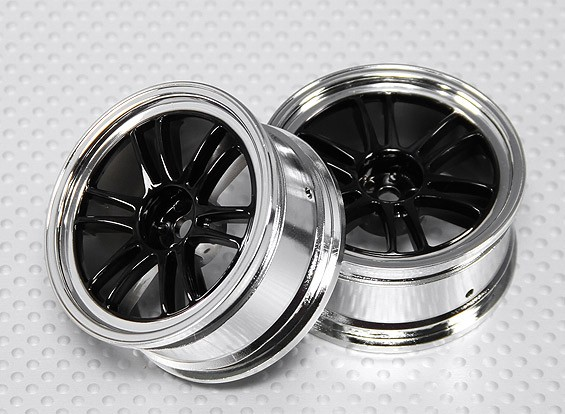 1:10 Scale Wheel Set (2pcs) Black/Chrome Split 6-Spoke RC Car 26mm (no offset)