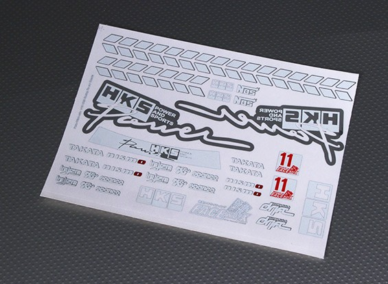 Self Adhesive Decal Sheet - HKS 1/10 Scale