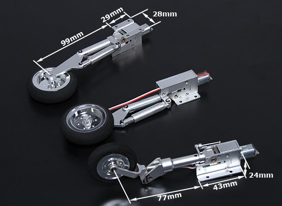 Full Metal Servoless Retract with Oleo Legs (Tricycle, Mig 17 type) 90-1.20 class