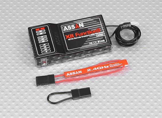 Assan X8 Function9 9Ch 2.4GHz Receiver (Long Antenna)
