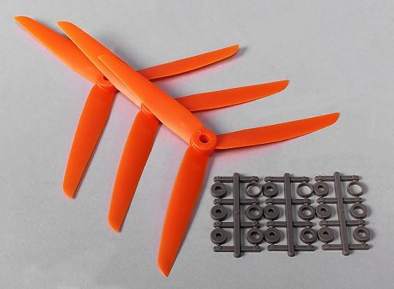 HobbyKing™ 3-Blade  Propeller 7x3.5 Orange (CW) (3pcs)