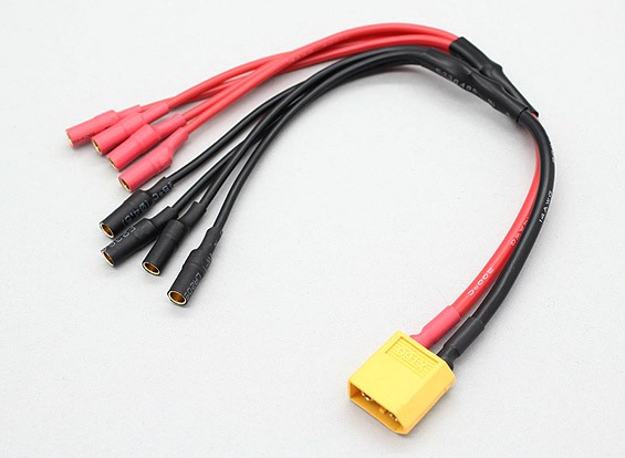 XT60 to 4 X 3.5mm bullet Multistar ESC Power Breakout Cable