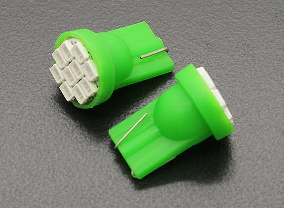 LED Corn Light 12V 1.5W (10 LED) - Green (2pcs)