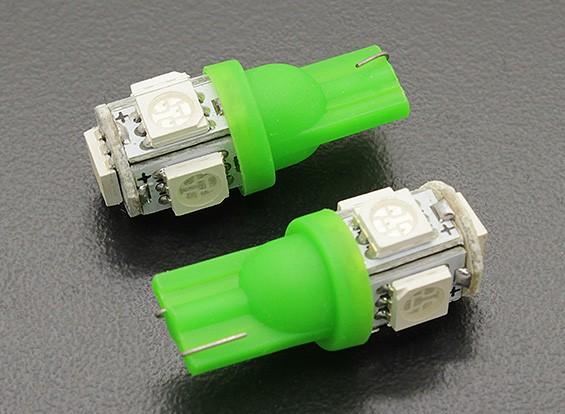 LED Corn Light 12V 1.0W (5 LED) - Green (2pcs)