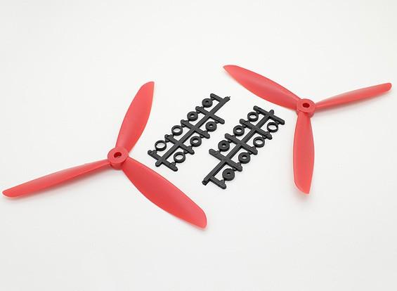 Hobbyking&#8482 3-Blade Propeller 7x4.5 Red (CW/CCW) (2pcs)