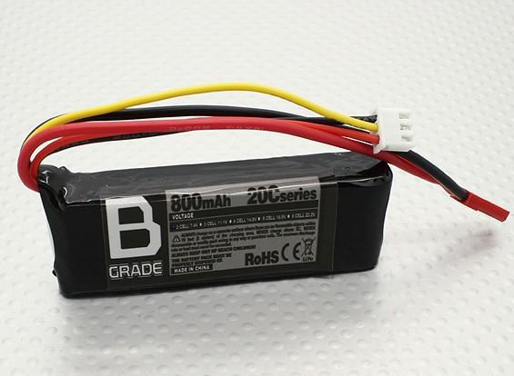 B-grade 800mAh 2S 20C Long Lipoly Battery