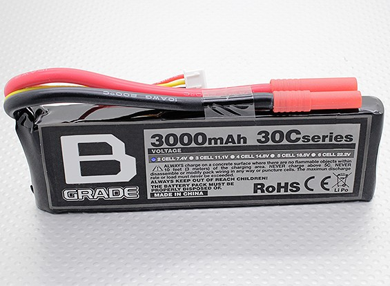 B-Grade 3000mAh 2S 30C Lipoly Battery