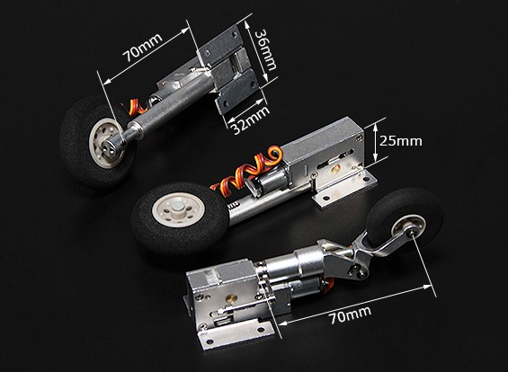 Turnigy Full Metal Servoless Retracts with Oleo Legs (Tricycle, Habu type)