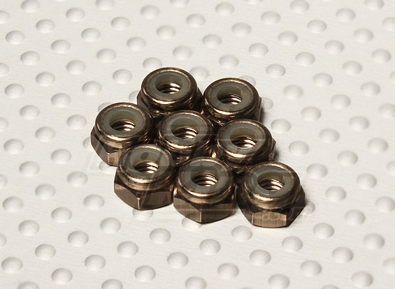 Titanium Color Anodised Aluminum M4 Nylock Nuts(8pcs)