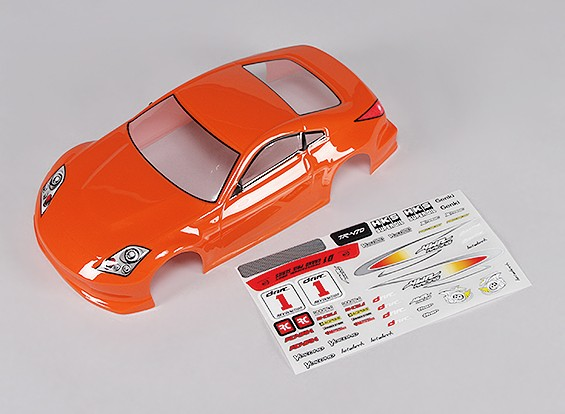 Sport Car Body w/Decal (Orange) - Turnigy TR-V7 1/16 Brushless Drift Car w/Carbon Chassis