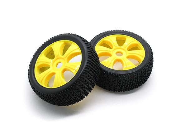 HobbyKing 1/8 Scale T Block Y-Spoke Wheel/Tire 17mm Hex (Yellow)