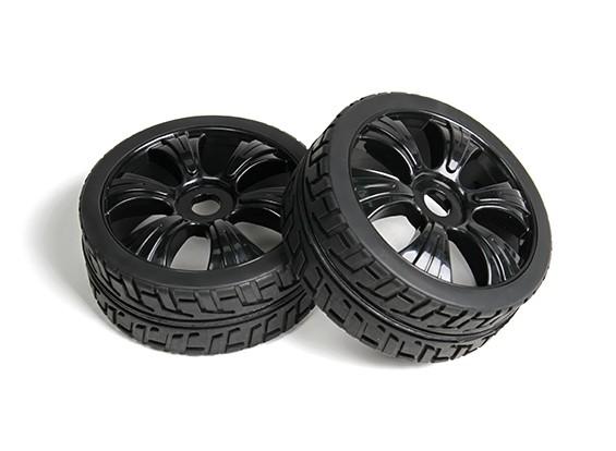 HobbyKing 1/8 Scale T Block Y-Spoke Wheel/Tire 17mm Hex (Black)