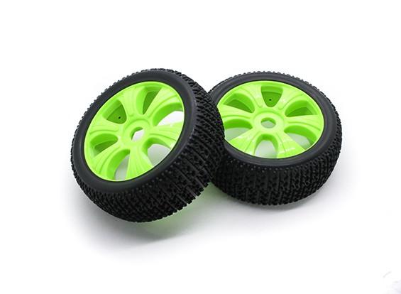 HobbyKing 1/8 Scale T Block Y-Spoke Wheel/Tire 17mm Hex (Green)