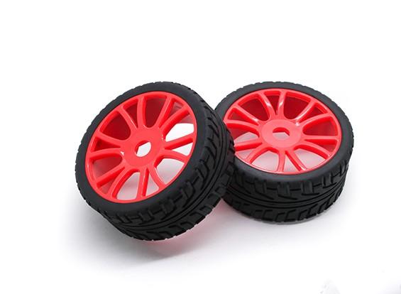HobbyKing 1/8 Scale RX Rally Y-Spoke Wheel/Tire 17mm Hex (Red)