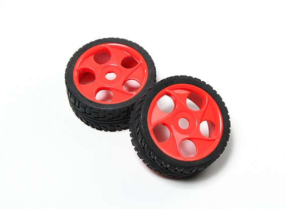 HobbyKing® 1/8 Star Spoke Fluorescent Red Wheel & On-road Tire 17mm Hex (2pc)