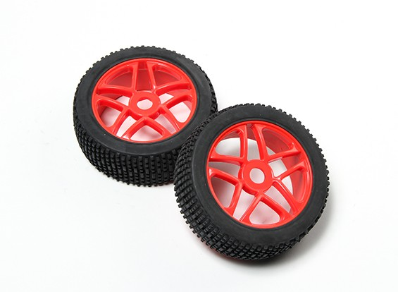 HobbyKing® 1/8 Star Fluorescent Red Wheel & Off-road Tire 17mm Hex (2pc)