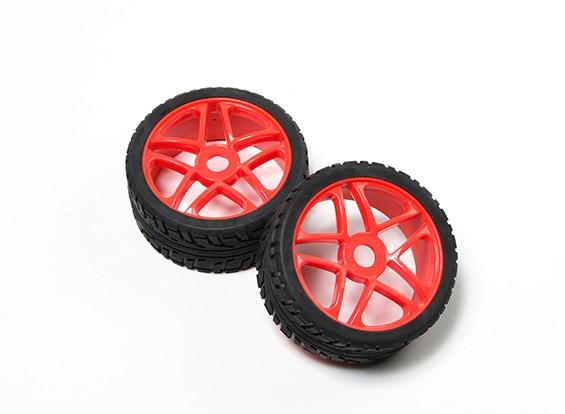 HobbyKing® 1/8 Star Fluorescent Red Wheel & On-road Tire 17mm Hex (2pc)