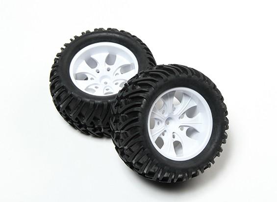 HobbyKing® 1/10 Monster Truck 7-Spoke White Wheel & Chevron Pattern Tire 12mm Hex (2pc)