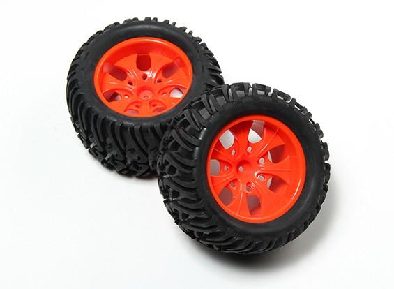 HobbyKing® 1/10 Monster Truck 7-Spoke Fluorescent Red Wheel & Chevron Pattern Tire (2pc)