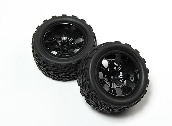 HobbyKing® 1/10 Monster Truck 7-Spoke Black Wheel & Tree Pattern Tire 12mm Hex (2pc)