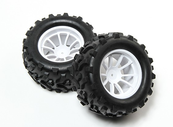 HobbyKing® 1/10 Monster Truck 10-Spoke White Wheel & Arrow Pattern Tire 12mm Hex (2pc)