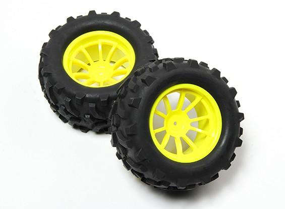 HobbyKing® 1/10 Monster Truck 10-Spoke Fluorescent Yellow Wheel & Arrow Pattern Tire (2pc)