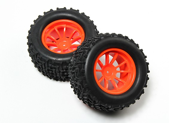 HobbyKing® 1/10 Monster Truck 10-Spoke Fluorescent Orange Wheel & I-Pattern Tire 12mm Hex (2pc)