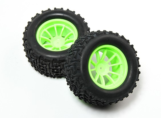 HobbyKing® 1/10 Monster Truck 10-Spoke Fluorescent Green Wheel & I-Pattern Tire 12mm Hex (2pc)