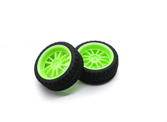 HobbyKing 1/10 Wheel/Tire Set AF Rally Spoke Rear(Green) RC Car 26mm (2pcs)
