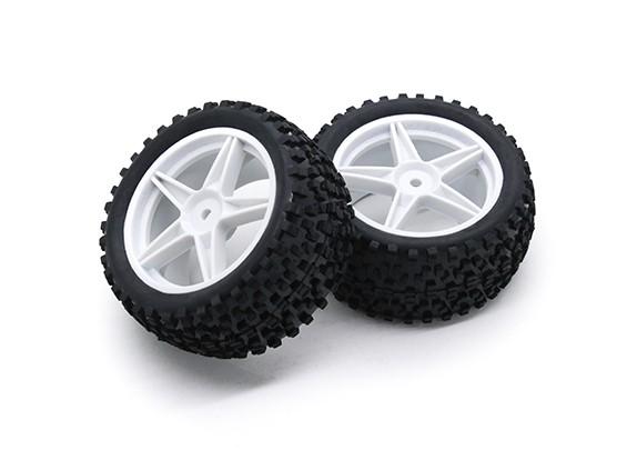 HobbyKing 1/10 Small Block 5-Spoke Rear (White) Wheel/Tire 12mm Hex (2pcs/Bag)