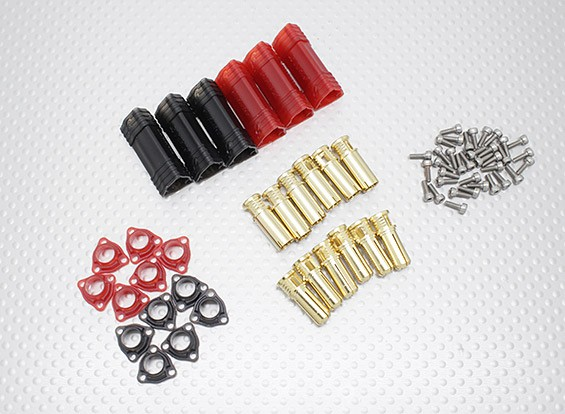 6mm RCPROPLUS Supra X Gold Bullet Polarised Battery Connectors (3 pairs)