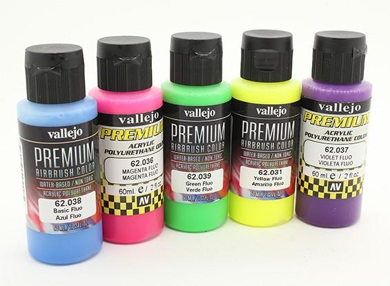 Vallejo Premium Color Acrylic Paint - Fluo Color Section (5 x 60ml)