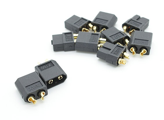 Black XT60 Male and Female Connectors (5 Pairs)