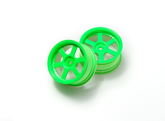 1:10 Rally Wheel 6-Spoke Neon Green (3mm Offset)
