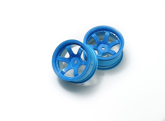 1:10 Rally Wheel 6-Spoke Fluorescent Blue (9mm Offset)