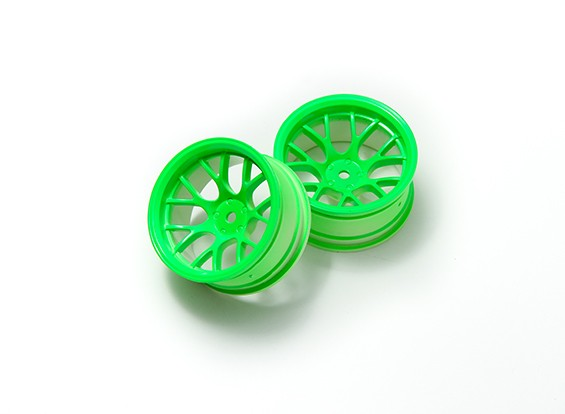 1:10 Wheel Set 'Y' 7-Spoke Fluorescent Green (9mm Offset)