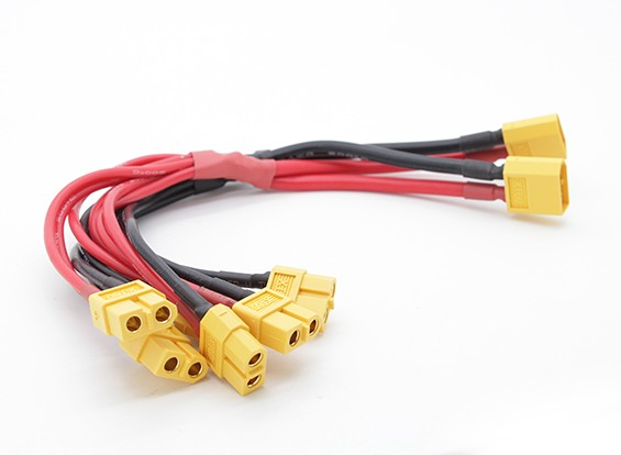 XT60 Harness with 2 Male and 6 Female Connectors 12AWG Wire (1pc)