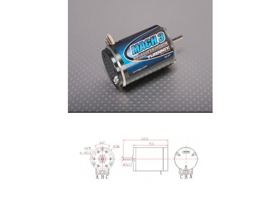Turnigy Mach2 10.5T Brushless R/C Car Motor w/timing adjust 3650kv