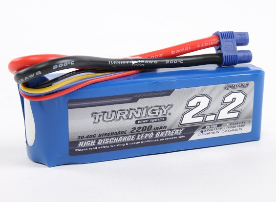 Turnigy 2200mAh 3S 30C Lipo Pack with EC3 plug (E-Flite Compatible EFLB21003S)